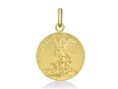 Médaille St Michel 15 mm Or jaune 18k