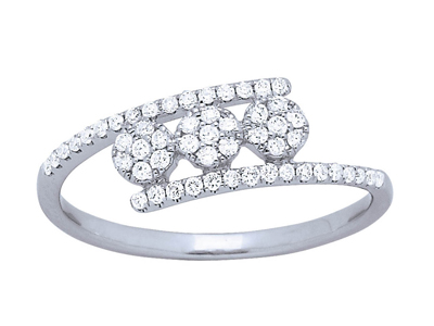 Bague trilogie tout sertie diamants, Or gris, diamants 0,22 ct, doigt 58
