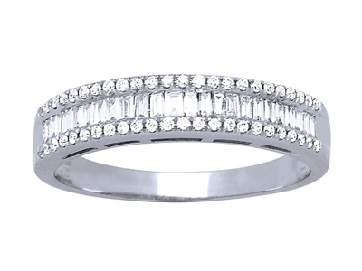 Alliance baguettes, diamants 0,557ct, Or gris 18k