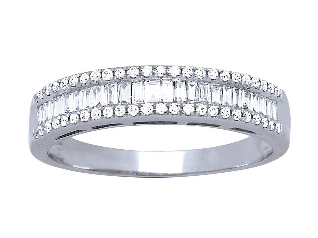 Bague alliance baguettes, Or gris, diamants 0,557  ct