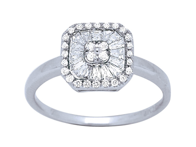 Bague carre grand modle Or gris diamants 0448 ct