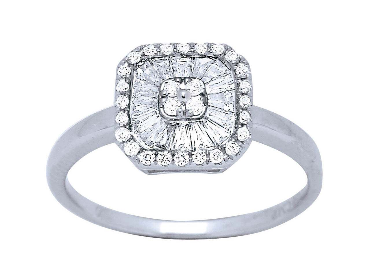Bague carrée grand modèle, Or gris, diamants 0,448 ct