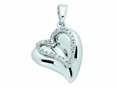 Pendentif Or gris coeur diamants 0125 ct