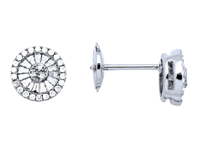 Boucles doreilles Rondes serti illusion grand modèle, diamants 0,371ct, Or gris 18k