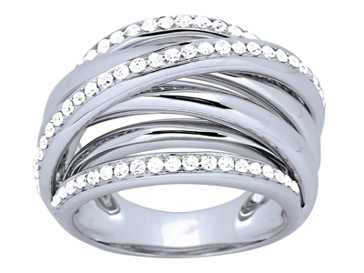 Bague croisée 5 rangs, diamants 0,82ct, Or gris 18k