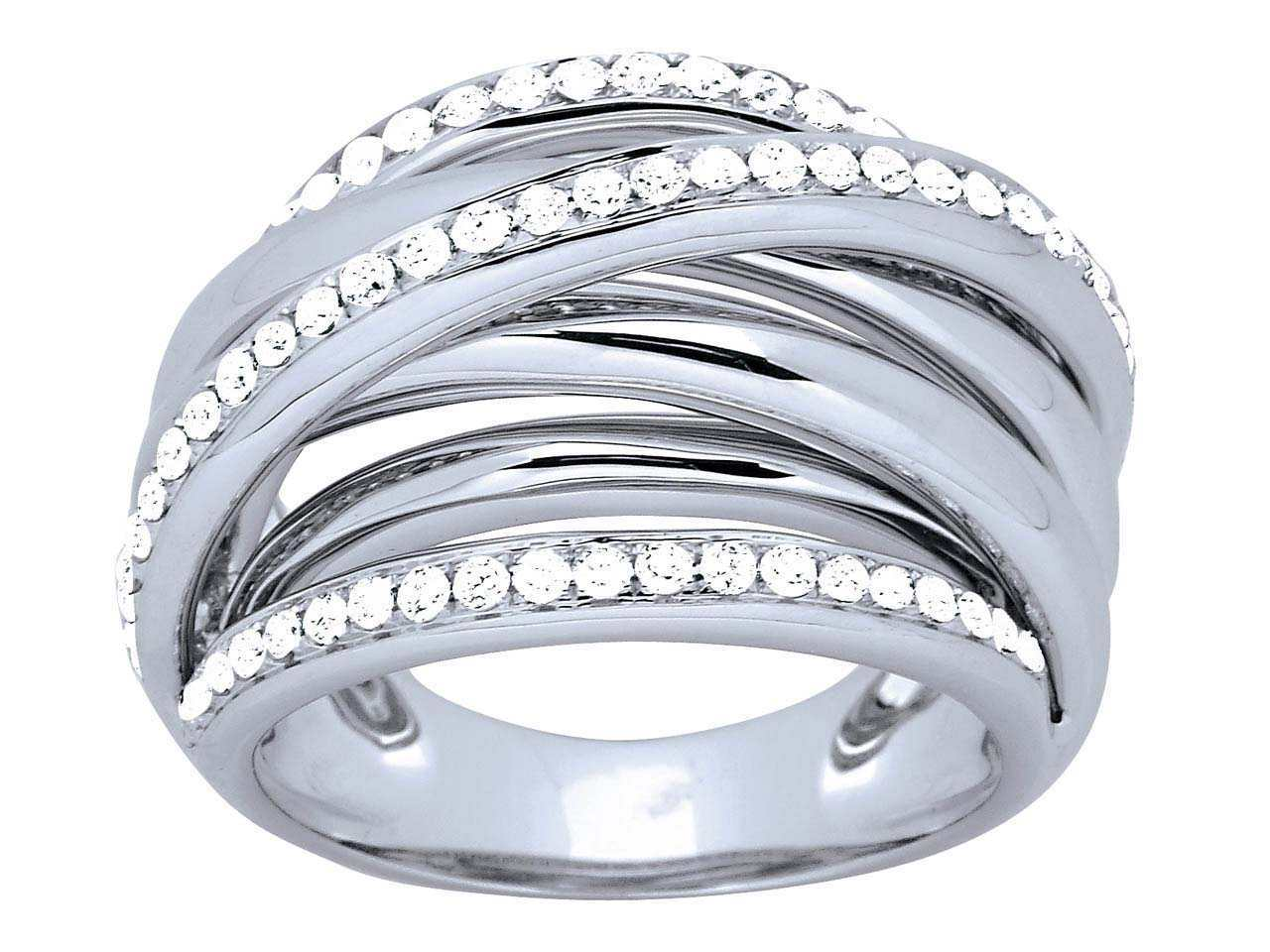 Bague croisée 5 rangs Or gris, diamants 0,82 ct
