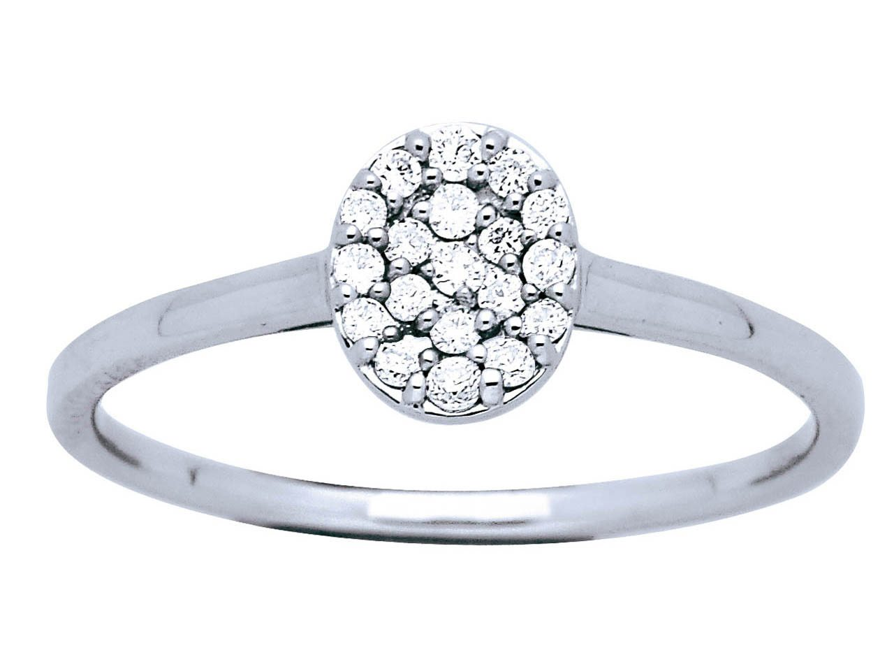 Bague ovale Or gris, pavage diamants 0,19 ct