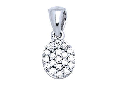 Pendentif ovale Or gris pavage diamants 018 ct