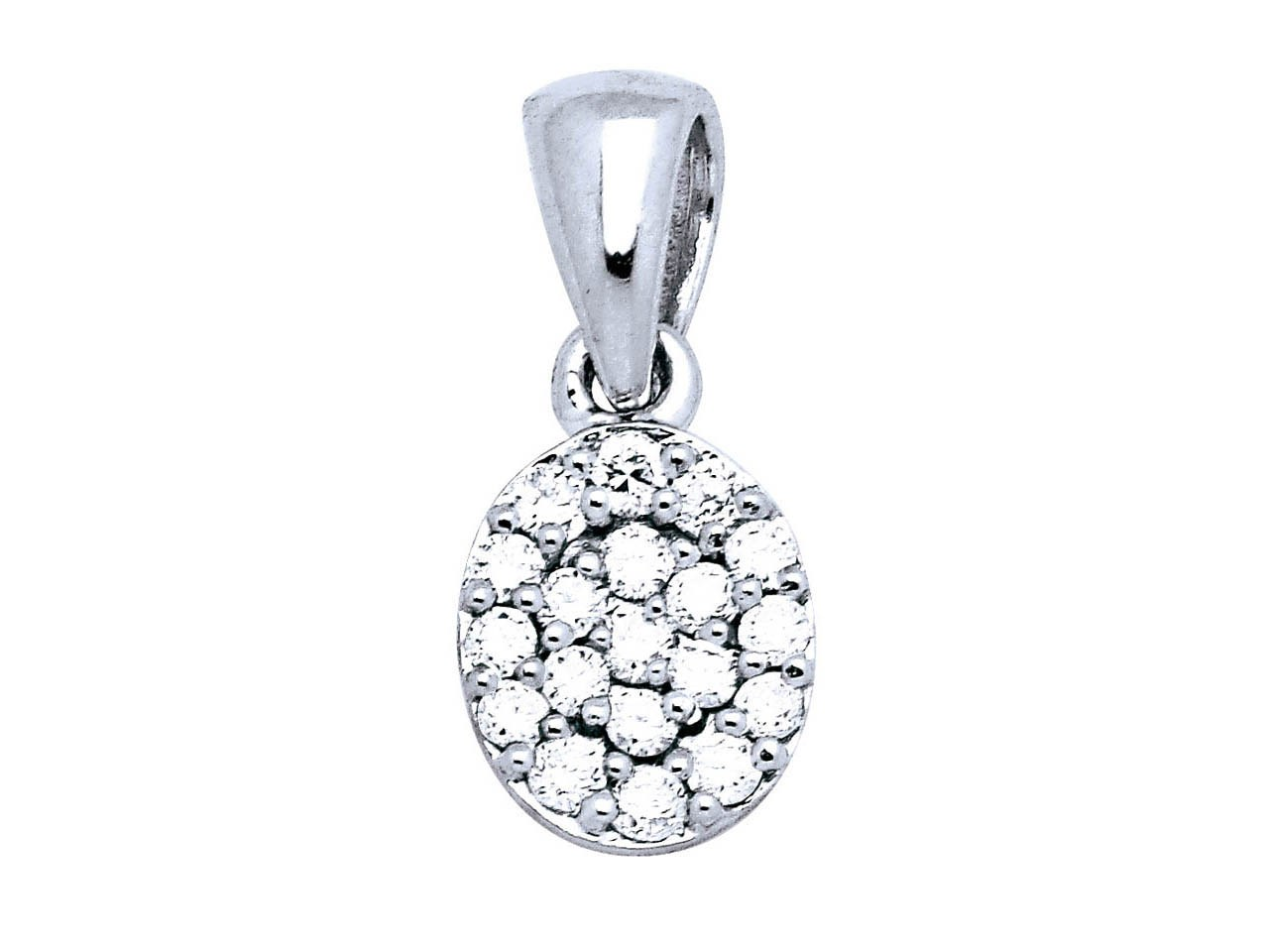 Pendentif ovale Or gris, pavage diamants 0,18 ct