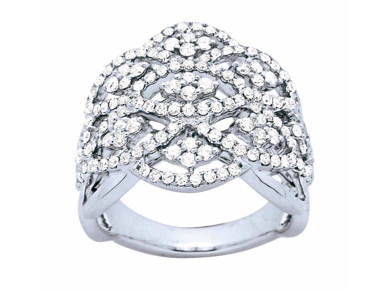 Bague renaissance, Or gris, diamants 1,29 ct