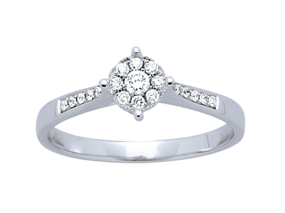 Bague solitaire Or gris serti illusion diamants 017 ct