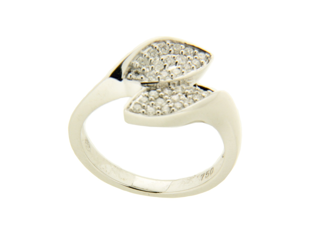 Bague double losanges, Or gris, diamants 0,35 ct