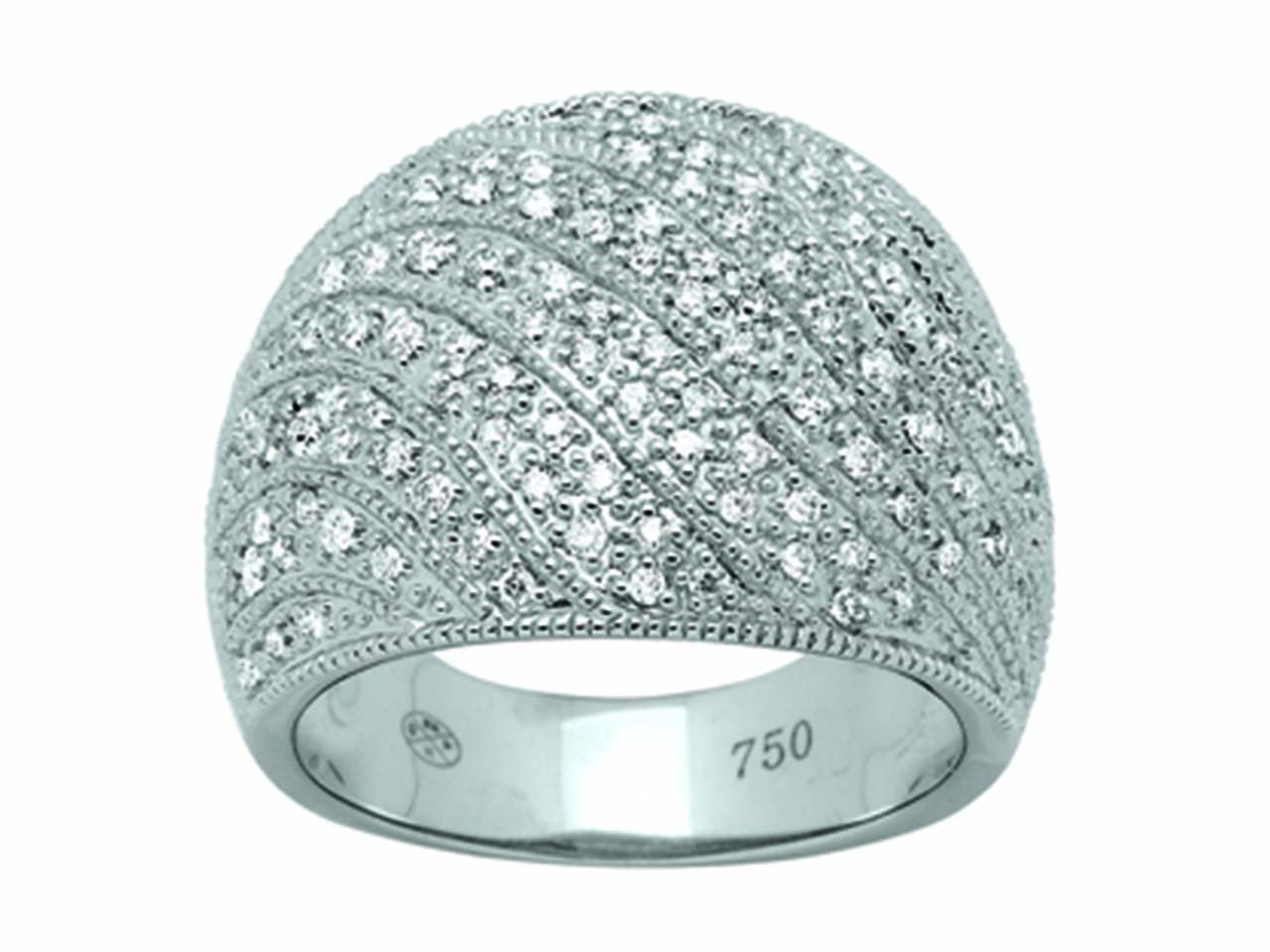 Bague volume mouvement, Or gris, diamants 0,68 ct
