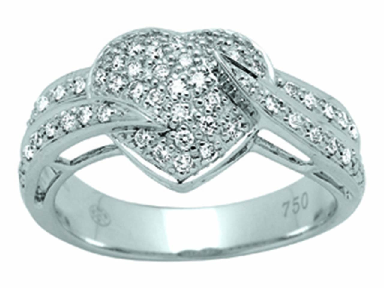 Bague coeur Or gris, diamants 0,40 ct