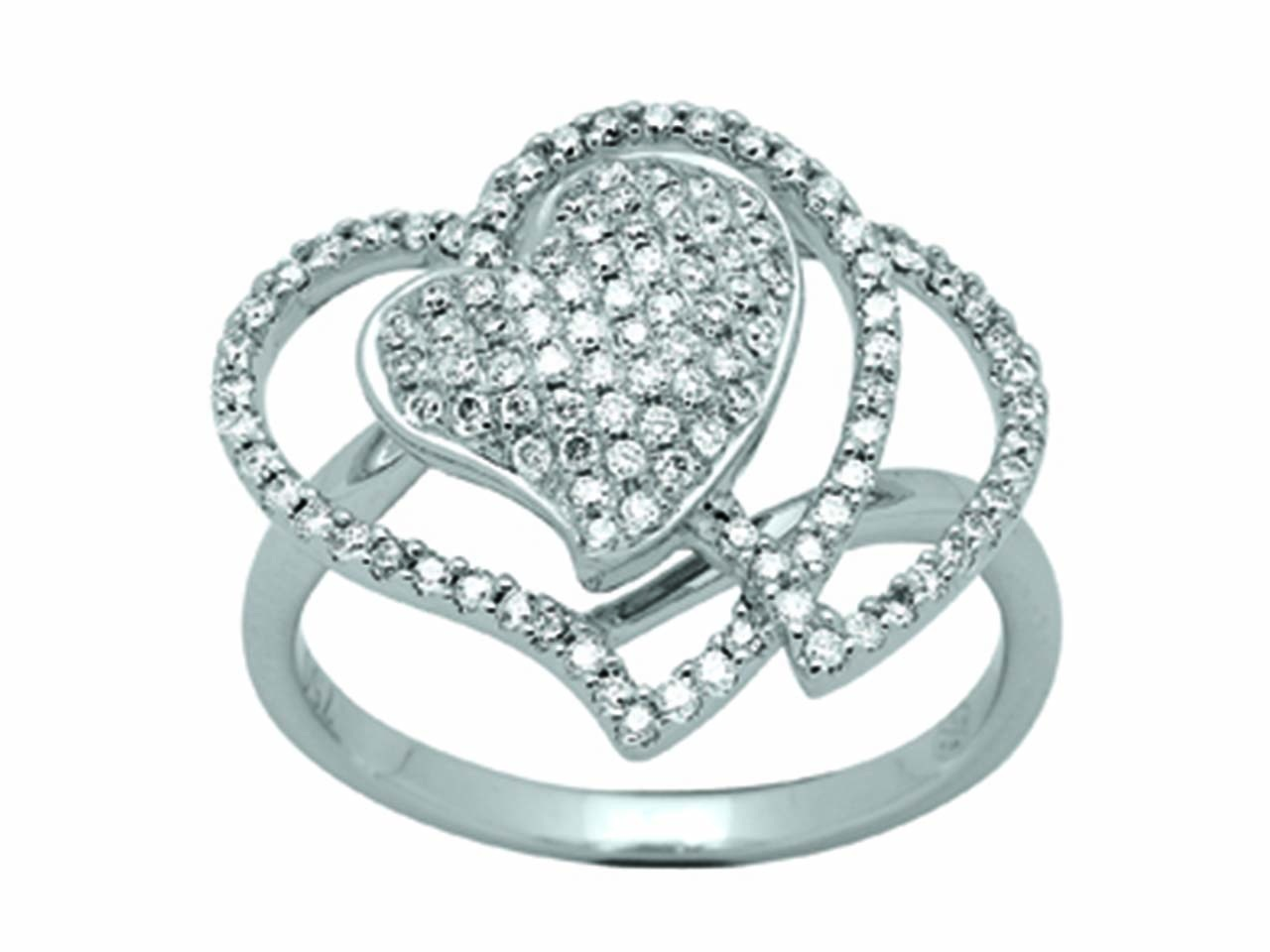 Bague coeur et courbes Or gris, diamants 0,57 ct
