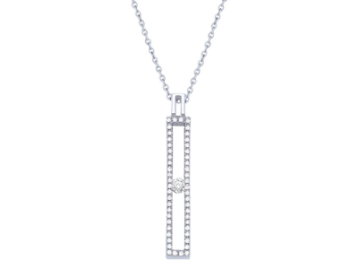 Pendentif Or gris barrette tout serti diamants 030 ct