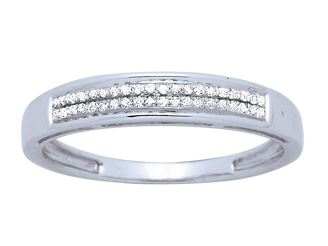 Bague alliance serti 2 rangs, Or gris, diamants 0,08 ct