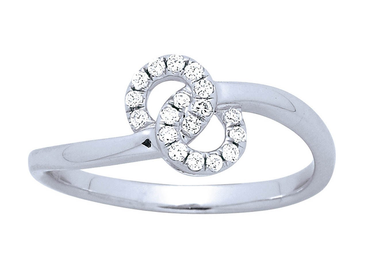 Bague forme 8, Or gris, diamants 0,10 ct