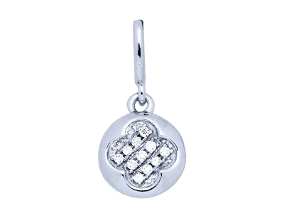 Pendentif Or gris rond motif losange diamants 0035 ct