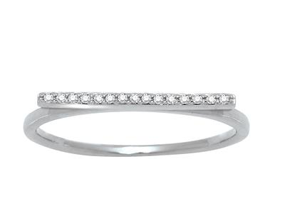 Bague en ligne, diamants 0,05ct, Or gris 18k, doigt 52