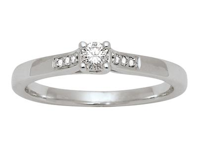 Bague Solitaire accompagn Or gris 18k Dts 013 ct doigt 52