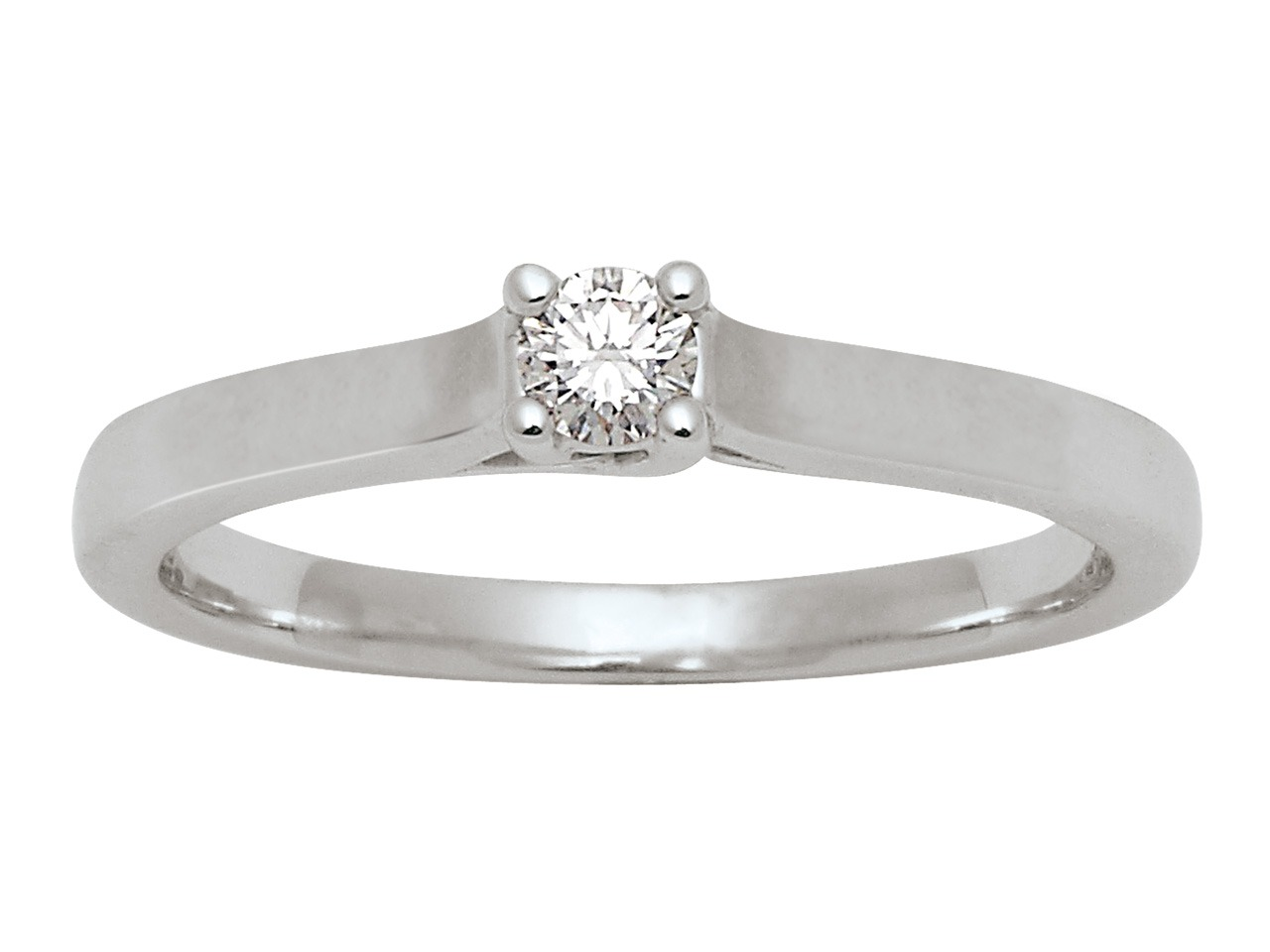 Bague Solitaire, Or gris 18k, diamants 0,10 ct, doigt 54
