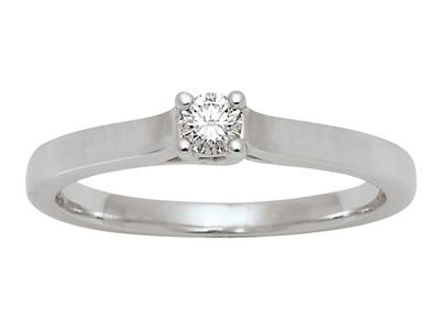 Bague Solitaire Or gris 18k diamants 010 ct doigt 56