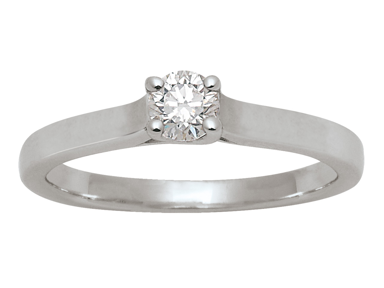 Bague solitaire diamants 0,30ct, Or gris 18k, doigt 56