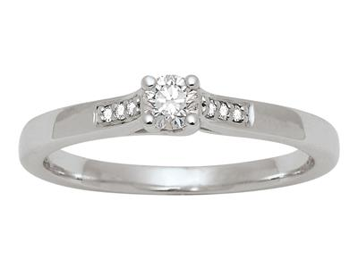 Solitaire accompagn Or gris 18 k Dts 018 ct doigt 52