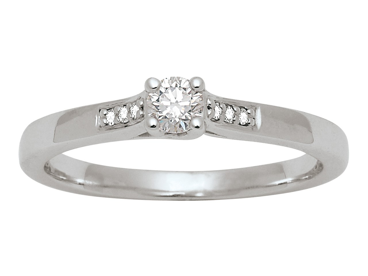 Solitaire accompagné, Or gris 18 k, Dts 0,18 ct, doigt 56