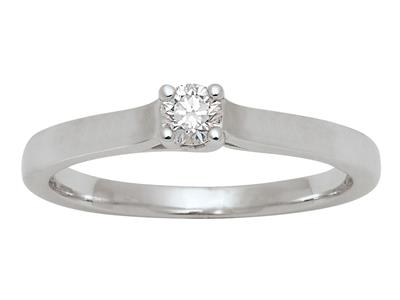 Bague Solitaire or gris 18k diamants 015 ct doigt 54