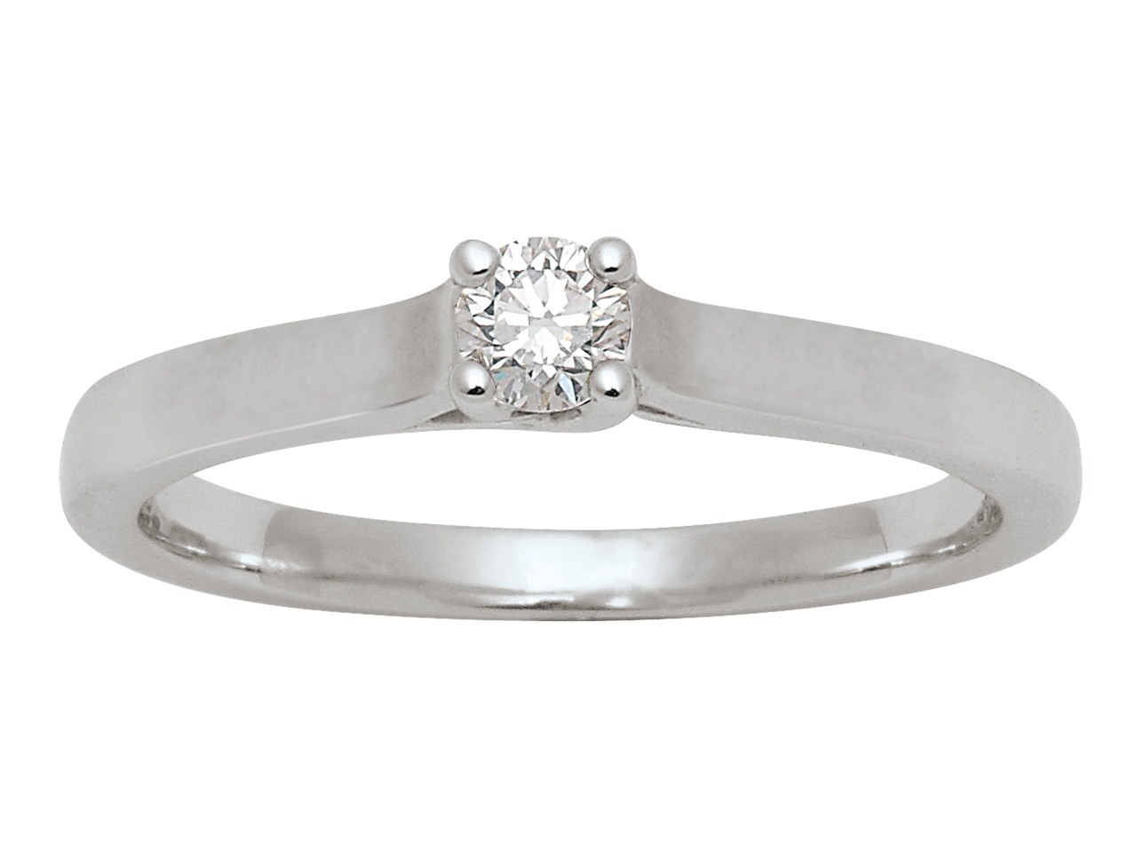 Bague Solitaire, or gris 18k, diamants 0,15 ct, doigt 56