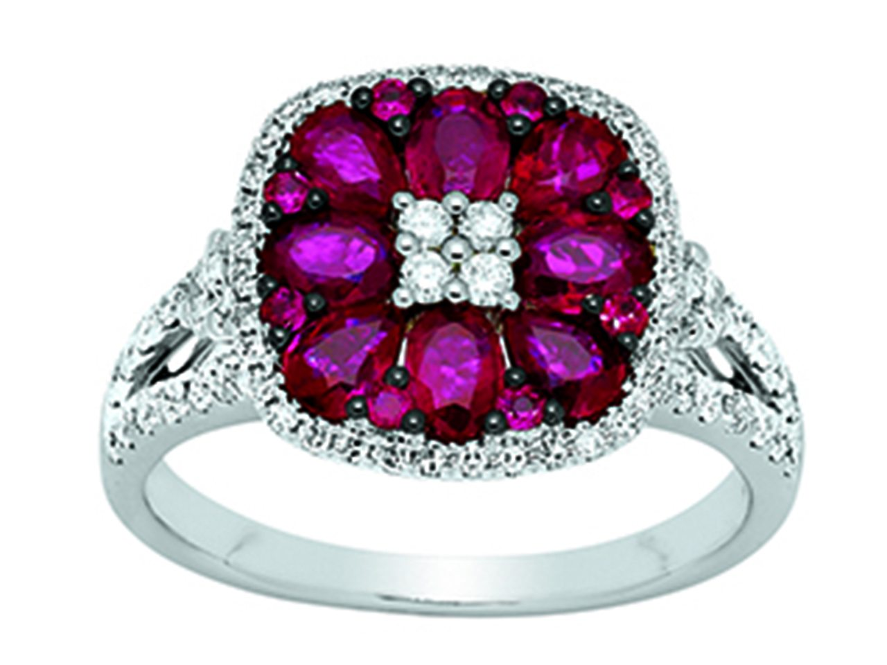 Bague Or girs 18k, rubis 1,60ct, diamants 0,63ct, doigt 54
