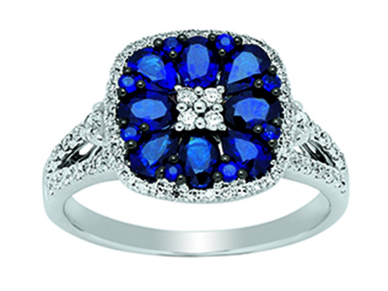Bague Or girs 18k, saphirs 1,60ct, diamants 0,63ct, doigt 53