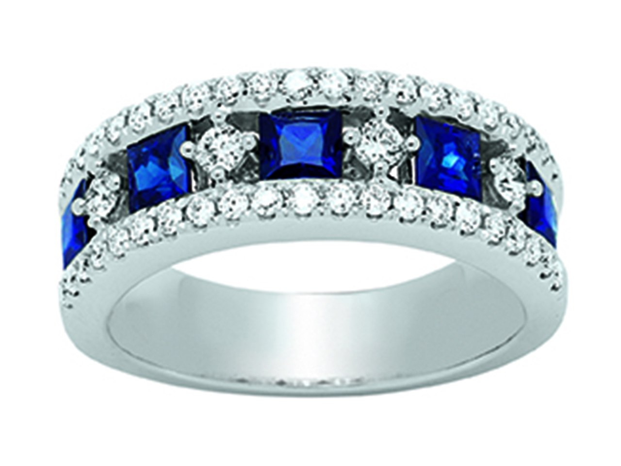 Bague Or girs 18k, saphirs 1,49ct, diamants 0,57ct, doigt 53