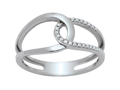 Bague entrelace ajoure Or gris 18k diamants 009ct doigt 52