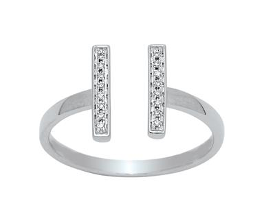 Bague double barrette ouverte, diamants 0,06ct, Or gris 18k, doigt 52