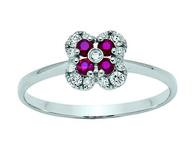Bague Fleur Or gris 18k diamants 013ct rubis 016ct doigt 52
