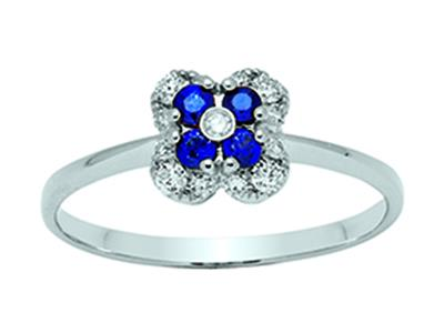 Bague Fleur Or gris 18k diamants 013ct saphirs 016ct doigt 52