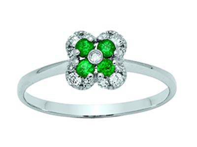 Bague Fleur Or gris 18k diamants 013ct meraudes 016ct doigt 54