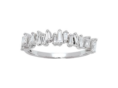 Bague Alliance Dominos, diamants baguettes 0,60ct, Or Gris 18k, doigt 50