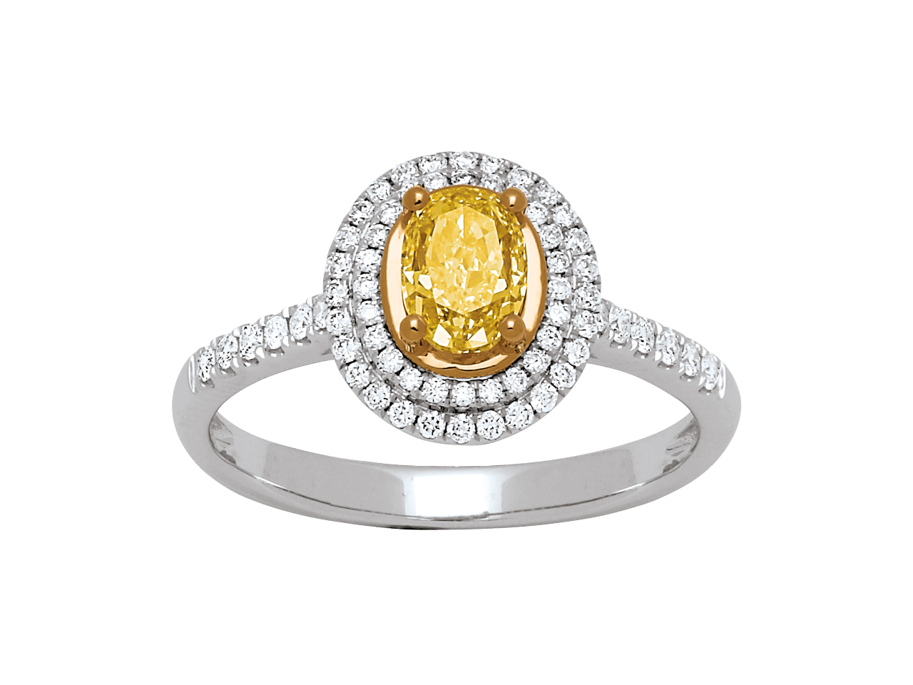 Bague Solitaire, diamant jaune ovale 0,77ct, diamant 0,28ct, Or gris 18k, doigt 54
