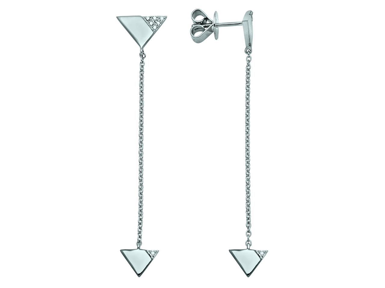 Boucles d'Oreilles pendantes Or gris 18k, Triangles, diamants 0,05ct