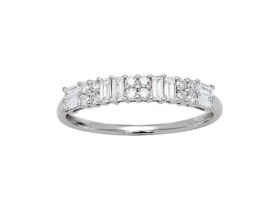 Demi-alliance diamants baguettes et ronds 0,42ct, Or gris 18k, doigt 54