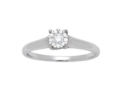 Bague Solitaire Diamant illusion, 0,15ct, Or Gris 18k, doigt 56