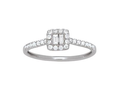Bague diamants baguettes et ronds 0,26ct, Or gris 18k, doigt 52