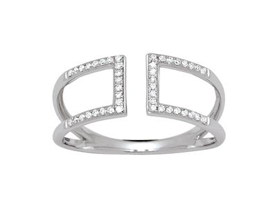 Bague carrée diamants dos à dos 0,12ct, Or gris 18k, doigt 56