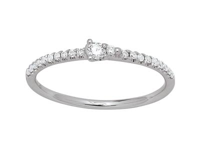 Bague solitaire diamants 0,14ct, doigt 50, or gris 18k