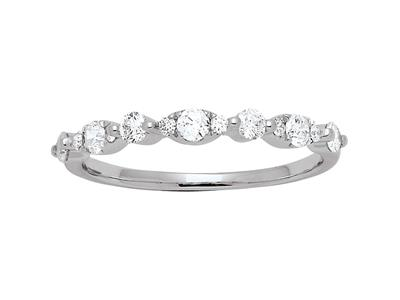Demi-Alliance forme Losanges, diamants 0,37ct, Or gris 18k, doigt 56