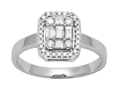 Bague rectangle diamants baguettes et ronds 0,47ct, Or gris 18k, doigt 52